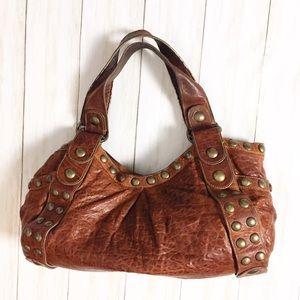 Kooba Jillian Boho Brown Leather Studded Hobo Bag